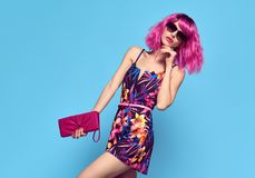 Free Fashion Portrait Girl. Pink Hair,Trendy Sunglasses Royalty Free Stock Photography - 110608657