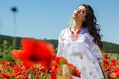 Fashion portrait of girl in roses garden Royalty Free Stock Image