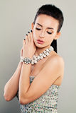 Fashion Portrait of Glamorous Model, Pretty Face. Pretty Woman with Prom Cloth and Jewelry Stock Image