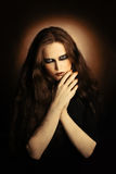 Fashion portrait of gothic woman. Stock Photo