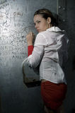 Fashion portrait in grunge wall Stock Photos