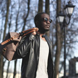 Fashion portrait of handsome african man in black leather jacket Royalty Free Stock Photo
