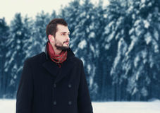 Fashion portrait handsome elegant bearded man wearing black coat in winter day over snowy trees forest background stock photo