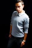 Fashion portrait of handsome hispanic man stock photos