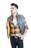 Fashion portrait of handsome stylish man wearing casual clothes Royalty Free Stock Image