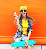 Fashion portrait of hipster cool girl in sunglasses Royalty Free Stock Photography