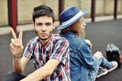 Fashion portrait of hipsters couple outdoor Royalty Free Stock Photography