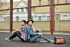 Fashion portrait of hipsters couple outdoor Stock Image