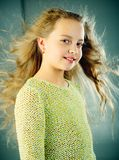 Fashion portrait of little girl. childhood of happy kid. beauty. kid hairdresser. Feeling free and happy. Skin and hair stock photography