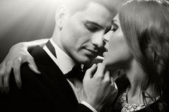 Fashion portrait of  lovers. Sensual portrait of cute couple Royalty Free Stock Photos