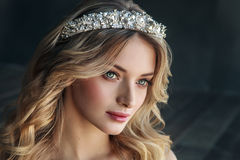 Fashion portrait of model with crown on the metal background.  Stock Image