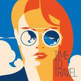 Fashion portrait of a model girl with sunglasses. Time to Travel and Summer Holiday poster. stock illustration
