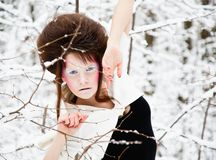 Fashion portrait of a model with make-up in forest Stock Images