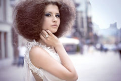 Fashion Portrait Of A Young Woman On A Street Stock Images