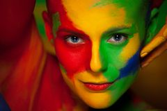 Free Fashion Portrait Of Beautiful Girl With Bright,colorful, Creative Art Make-up, Abstract Face Art On Colors Background Stock Images - 144938754