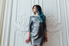 Free Fashion Portrait Of Gorgeous Girl With Blue Dyed Hair Long. The Beautiful Evening Cocktail Dress. Royalty Free Stock Photography - 87716337