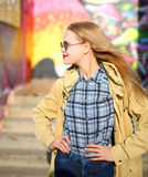 Fashion portrait pretty blonde woman in sunglasses. Profile Stock Image