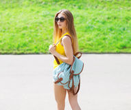 Fashion portrait of pretty cool girl wearing a sunglasses Stock Photos