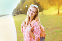 Fashion portrait pretty hipster smiling girl having fun Royalty Free Stock Image