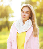 Fashion portrait pretty sensual woman outdoors sunny autumn Royalty Free Stock Photography