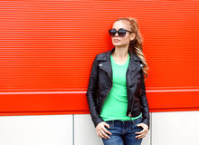 Fashion portrait pretty woman in rock black style Stock Photos