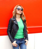 Fashion portrait pretty woman in rock black style Royalty Free Stock Images