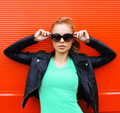 Fashion portrait of pretty woman in rock black style Royalty Free Stock Photography