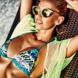 Fashion portrait of pretty woman under the sun.  Royalty Free Stock Photos