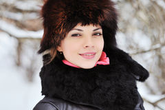 Fashion portrait of pretty young girl in winter Stock Photos