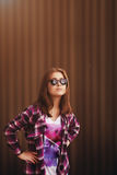 Fashion  portrait of pretty young hipster  woman   in glasses Stock Photo