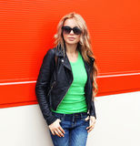 Fashion portrait of pretty young woman in rock black style, wear Royalty Free Stock Images