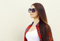 Fashion portrait of profile pretty woman in the sunglasses Royalty Free Stock Photos