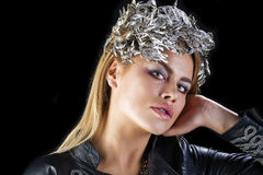 Fashion portrait of sensual blond female with hair style Royalty Free Stock Image