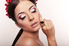 Fashion portrait of sexy brunette with ring Royalty Free Stock Photos