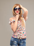 Fashion portrait woman sunglasses Royalty Free Stock Photo