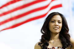 Fashion Portrait Standing Beside Flag Royalty Free Stock Images