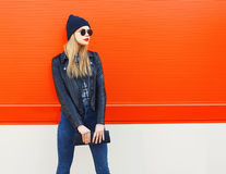 Fashion portrait of stylish blonde girl in rock black style Stock Image