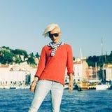 Fashion portrait stylish blonde girl on vacation. Stock Photography