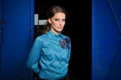 Fashion portrait of stylish girl. Portrait of a young beautiful fashionable woman Royalty Free Stock Photos