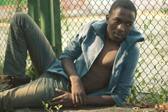 Fashion portrait stylish young african torso man outdoors Royalty Free Stock Image