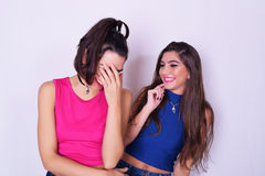 Fashion portrait of two women having fun. Friendship concept. Royalty Free Stock Photo