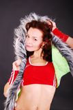 Fashion portrait of woman. Fashion portrait of woman with furs stock photo