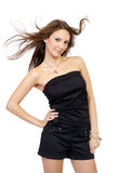 Fashion portrait of a woman in a casual dress royalty free stock images