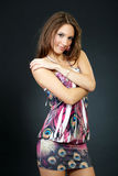Fashion portrait of a woman in a casual dress Royalty Free Stock Photo