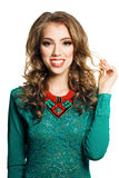 Fashion Portrait of  Woman with Curly Hair Royalty Free Stock Photography