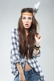 Fashion Portrait of Woman Dressed in Hippie Style Royalty Free Stock Photos