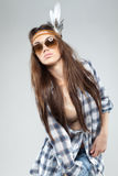 Fashion Portrait of Woman Dressed in Hippie Style Stock Photography