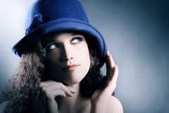 Fashion portrait woman in elegant hat Royalty Free Stock Image
