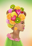 Fashion portrait  woman in a hat of sweets. Stock Image