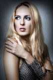 Fashion portrait of woman. Health blonde hair Royalty Free Stock Photography